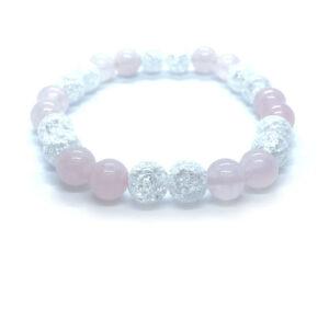 Crystal II. - Hegyikristály-rózsakvarc karkötő